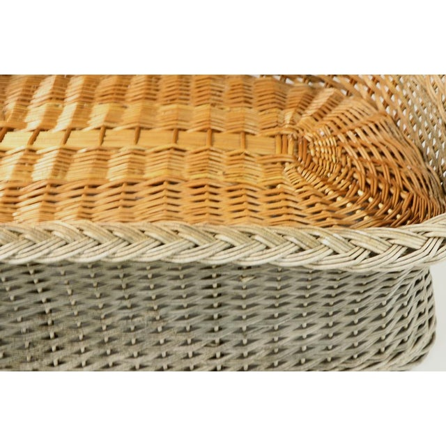 Mod Bar Harbor Style Woven Wicker Settee For Sale - Image 4 of 13