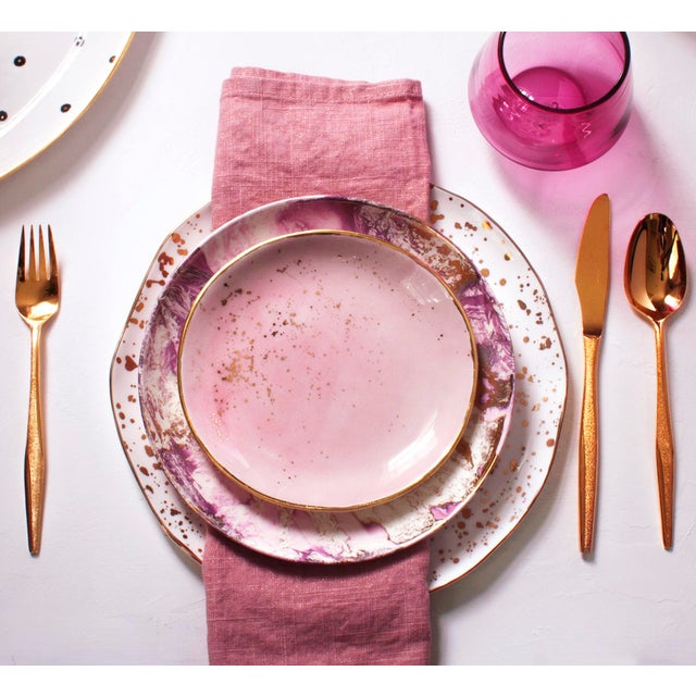 Suite One Studio Suite One Studio Dessert Plates in Rose With Gold Splatters For Sale - Image 4 of 6