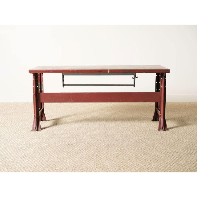 Vintage metal work table Finished in original red enamel finish Quantities available (7)