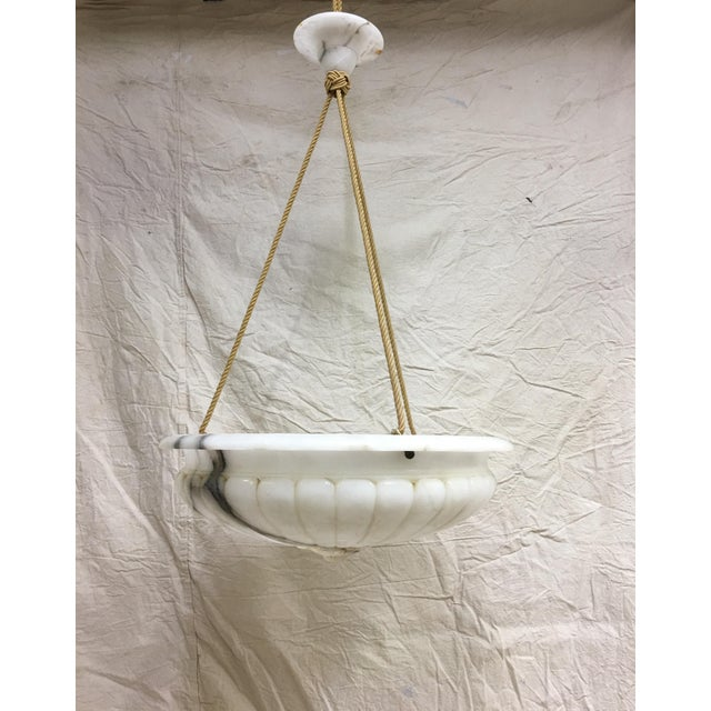 1980s Vintage Carved Marble Bowl Chandelier With Gold Cord and Marble Canopy For Sale - Image 5 of 5