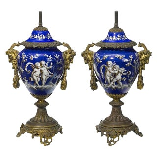 Pair of French Ormolu and Porcelain Covered Urn Lamps, 19th Century For Sale