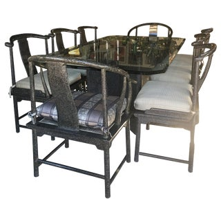 Modern Dining Room Set for 8 by Marge Carson in Tortoise Lacquer, Glass & Bronze For Sale