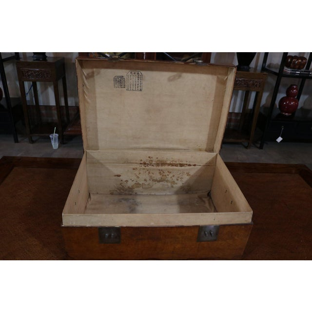 Metal Mid 19th Century Chinese Vellum Trunk For Sale - Image 7 of 8