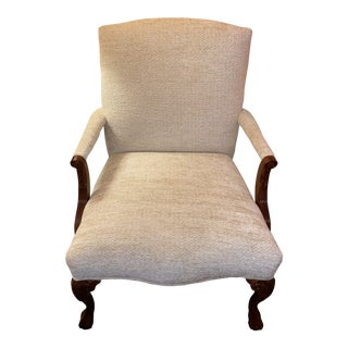 Mahogony White Upholstered Chair For Sale