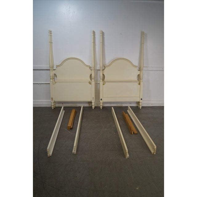 Ethan Allen Painted Twin Poster Beds - Pair - Image 10 of 10