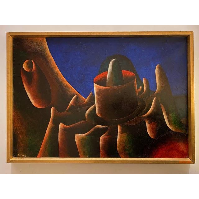 Canvas French Surrealist Painting, 1960s, Oil on Canvas by Jean Cuillerat, Paris For Sale - Image 7 of 8