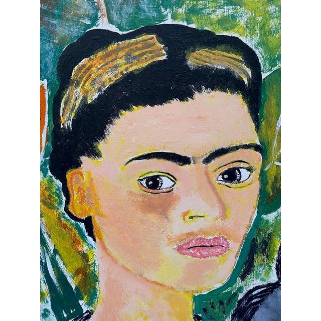 Portraiture 1970s Portrait Painting of Frida Kahlo with Monkeys Signed E. Colato, Framed For Sale - Image 3 of 7