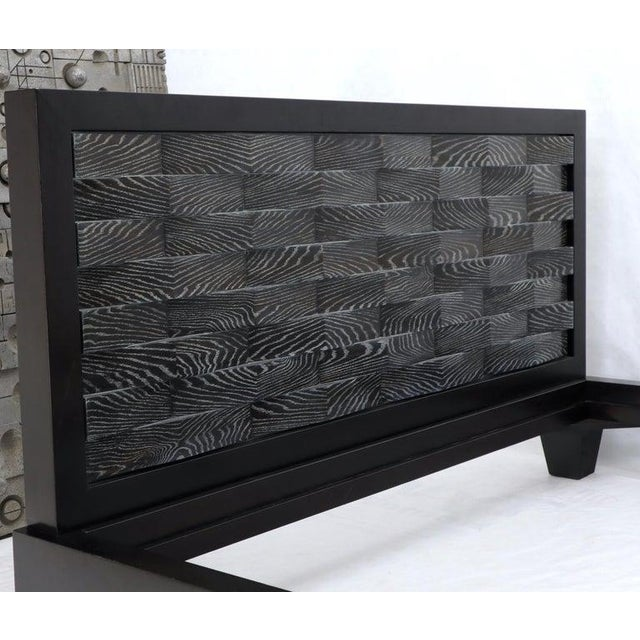Large Massive King Size Black Lacquer Cerused Oak Bed Headboard For Sale - Image 12 of 13