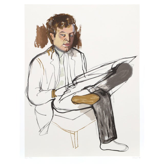 "Figurative Alice Neel, ""Portrait of Edward Avedesian"", Lithograph For Sale - Image 3 of 3"