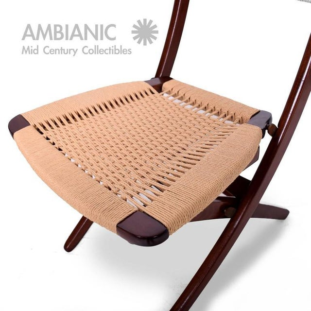 Mid-Century Danish Modern Rope Folding Chair For Sale - Image 9 of 9