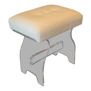 Mid-Century Modern Lucite Stool, Footstool, Vanity Stool in Boucle Fabric For Sale
