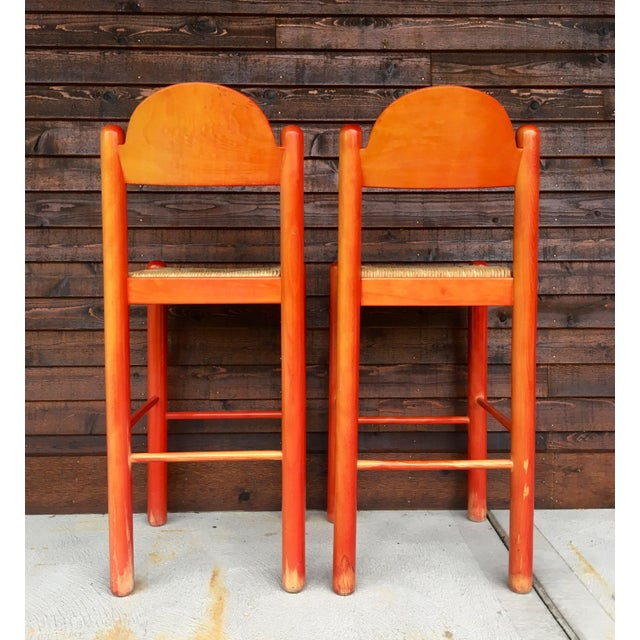 1960s 1960s Mid-Century Modern Cassina Style Red Cane Seat Bar Stools - a Pair For Sale - Image 5 of 12