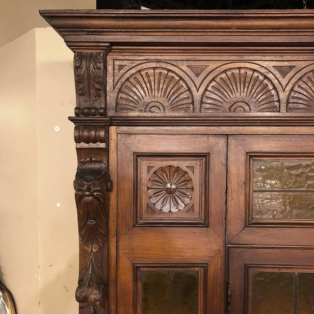 Brown Grand 19th Century Italian Renaissance Stained Glass Bookcase For Sale - Image 8 of 13