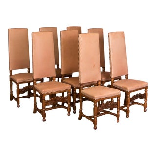Early 20th Century Leather Upholstered High Back Oak Dining Chairs- Set of 8 For Sale