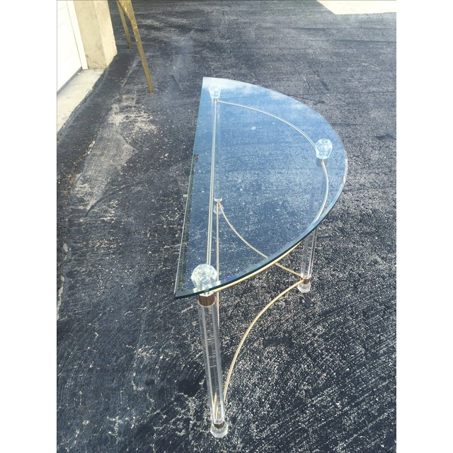 Lucite & Brass Sofa Table - Image 5 of 7