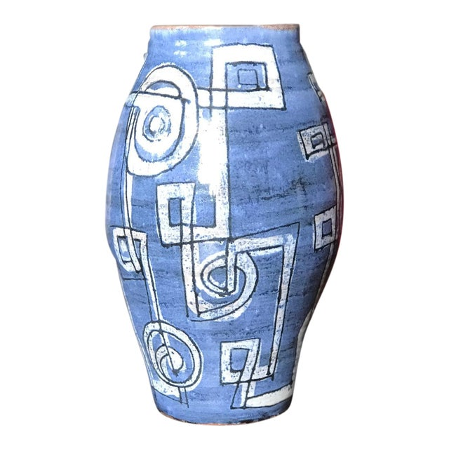 Mid-Century Modern Blue Abstract Ceramic Vase For Sale