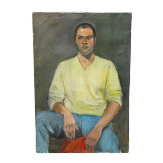 Unsigned Sitting Man Portrait Oil Painting