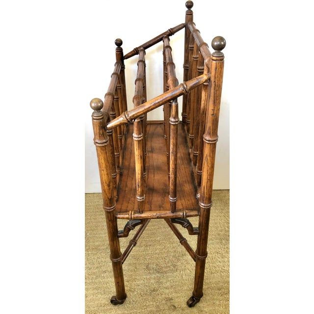 English Faux Bamboo Canterbury Magazine/File/Lp Rolling Rack For Sale - Image 3 of 10