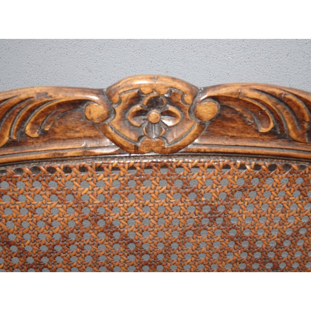 Brown Vintage Martin of London French Country Brown Ornately Carved Cane Settee For Sale - Image 8 of 13