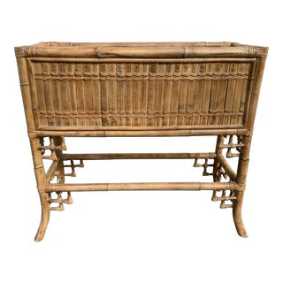 Late 20th Century Vintage Chinese Chipendale Style Bamboo/Rattan Plant Stand For Sale