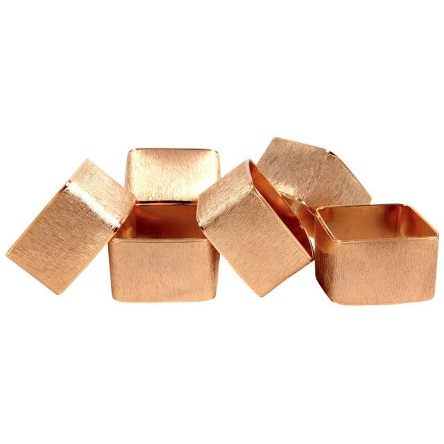 Brushed Gold Modernist Napkin Rings - Set of 6 - Image 1 of 5