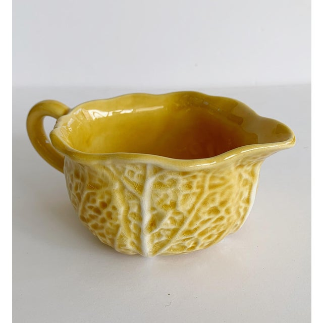 Majolica Vintage Majolica Secla Portugal Yellow Mustard Cabbage Dishes - Set of 6 For Sale - Image 4 of 13