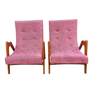 Pair of Newly Upholstered Mid-Century Modern Armchairs
