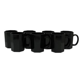 French Black Glass Mugs, Set of 7 For Sale