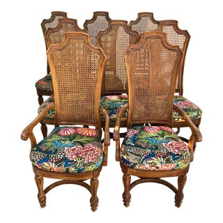 1970s Vintage Cane Back Dining Chairs- Set of 8 With Schumacher Fabric, Chiang-Mai Pattern For Sale