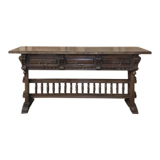 Antique Spanish Renaissance Walnut Hall Table ~ Console For Sale