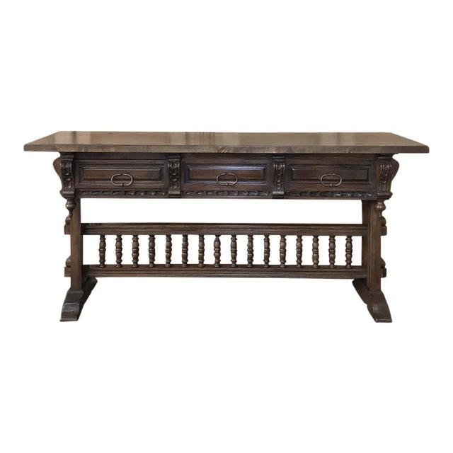 Antique Spanish Renaissance Walnut Hall Table ~ Console For Sale