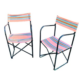 Vintage French Iron and Canvas Folding Beach Camping Glamping Chairs - Set 2 For Sale