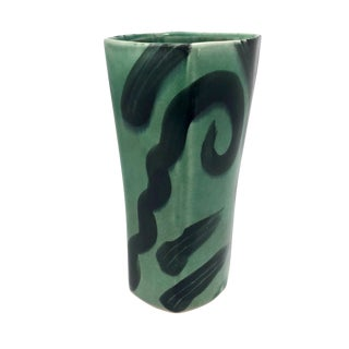 Vintage Post-Modern Green on Green Pottery Vase or Tumbler by Andrew Martin For Sale