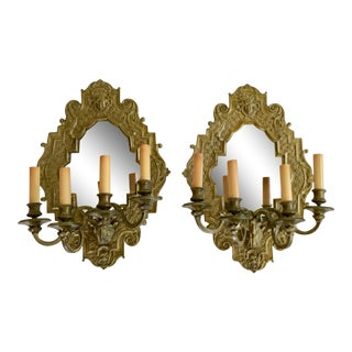 1920s Art Deco Brass & Mirror Wall Sconces - a Pair For Sale
