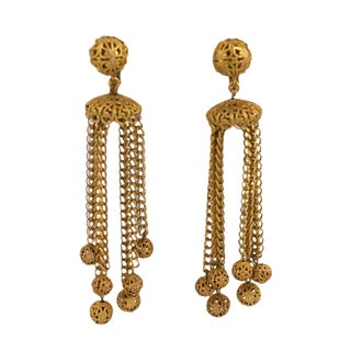 Miriam Haskell Filigree Ball Long Runway Earrings For Sale