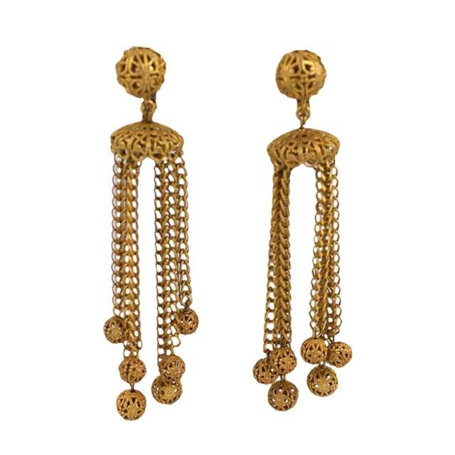 Miriam Haskell Filigree Ball Long Runway Earrings For Sale