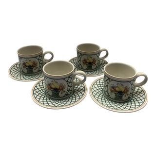 "Villeroy & Boch ""Basket"" Pattern"" Cup and Saucer - Set of 4 For Sale"