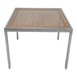 1970s Milo Baughman for Dia Chrome and Rattan Cane Table For Sale