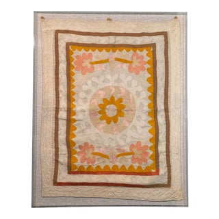 Mid 20th Century Suzani Tapestry in Acrylic Box Frame For Sale