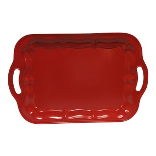 Mid-Century Red Lacquered Tray For Sale