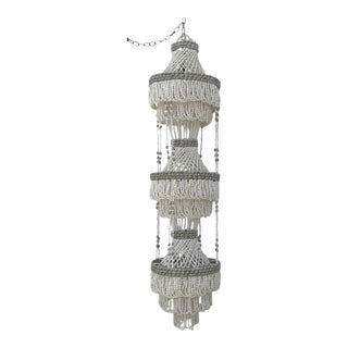 Three Tier Beaded Shell Chandelier - 3 Light For Sale