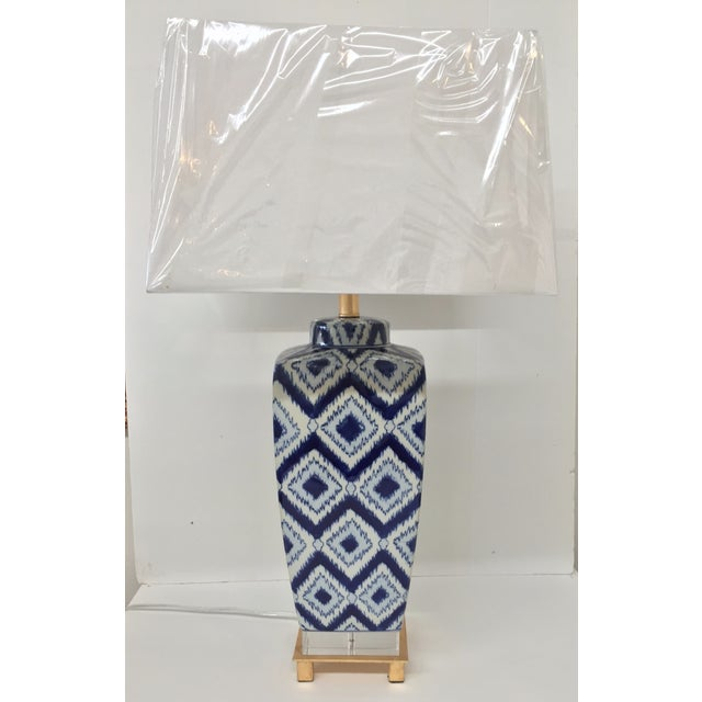 Blue & White Ikat Table Lamp - Image 2 of 4