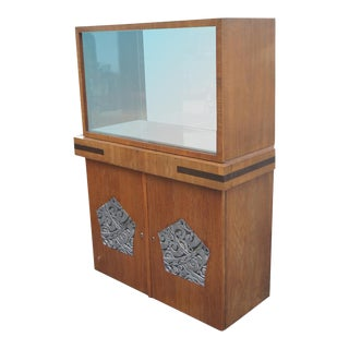 Vintage Argentinian Art Deco Walnut Vitrine China Cabinet For Sale