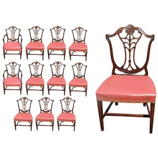 18th Century Georgian Period Neoclassical Mahogany Dining Chairs - Set of 12 For Sale