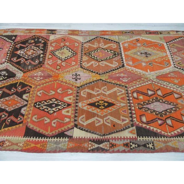Rustic Vintage Turkish Handwoven Colorful Kilim Rug - 5′11″ × 12′5″ For Sale - Image 3 of 6