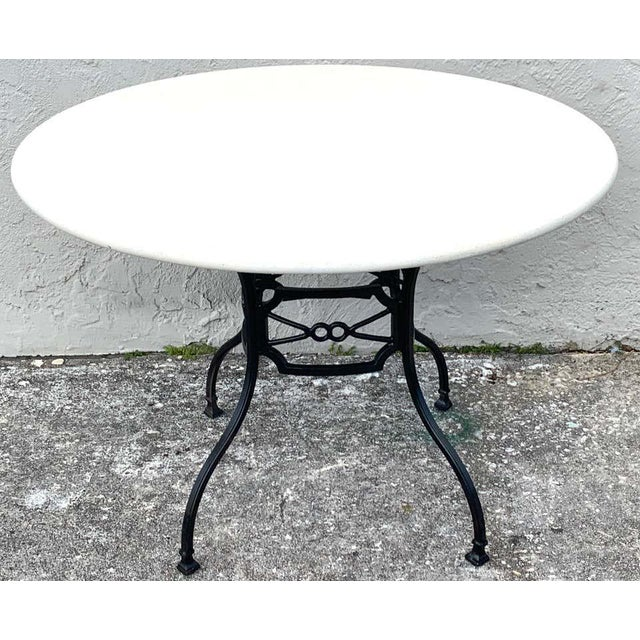 Neoclassical Horse-Bit & Travertine Garden/Patio Table Provenance Celine Dion For Sale - Image 4 of 8