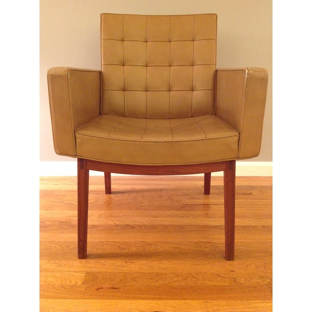 This is a rare Mid-Century Modern armchair designed by Vincent Cafiero for Knoll. It has a wooden frame with original...