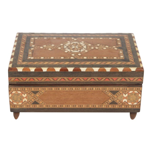 Spanish Inlaid Marquetry Jewelry Music Box For Sale