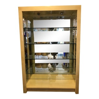 Tall Goatskin Shelving Unit With Glass Shelves Manner of Karl Springer For Sale