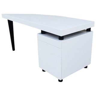 Architectural Italian Desk In Black And White Lacquer For Sale